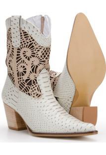 Bota Texana Em Couro Country Capelli Boots Feminina - Feminino-Off White