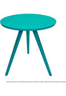 Mesa Lateral De Canto Tripé Média Laqueada Azul Tiffany
