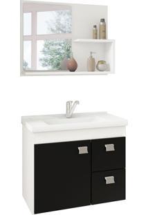 Conjunto De Banheiro Hortencia Branco E Preto