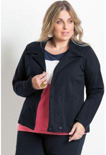 Blazer Feminino Plus Size Preto