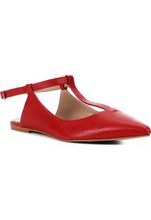 Sapatilha Couro Shoestock Flat Tira Feminina - Feminino-Vermelho