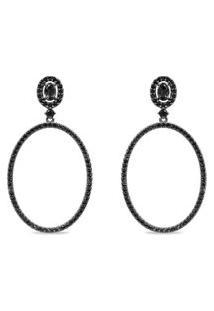 Brinco Oval Prata Quartzos Negros E Espinélios