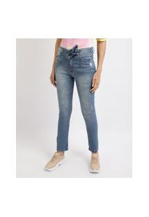 Calça Jeans Feminina Skinny Cropped Cintura Alta Com Faixa Para Amarrar Azul Médio