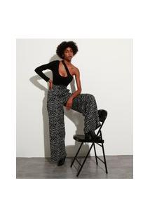 Calça Wide Pantalona De Jacquard Estampada Animal Print Zebra Com Bolsos Cintura Super Alta Mindset Preta