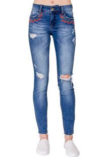6384f0469 Occhi Azzurri. Calça Colcci Feminina Destroyed Skinny Zíper Conforto Jeans  Fatima Bordada