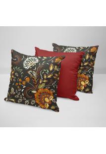 Kit 3 Capas Para Almofadas Decorativas Flor Abstrata 45X45Cm