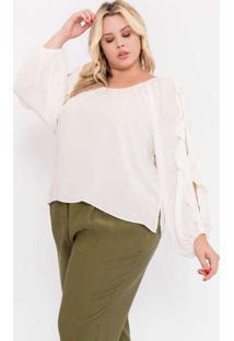 Blusa Almaria Plus Size Pianeta Creponada Branco