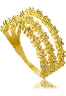 Anel Triplo Com Mini Zircônias Cravejadas 3Rs Semijoias Dourado - Tricae