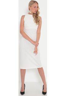 Vestido Liso Com Vazado- Off White- Sommersommer