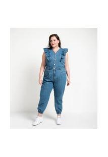 Macacão Longo Jeans Com Babados Curve & Plus Size | Ashua Curve E Plus Size | Azul | 48