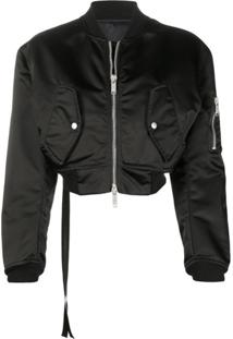 Unravel Project Jaqueta Bomber Cropped - Preto