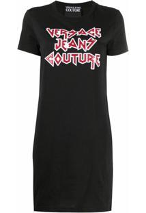 Versace Jeans Couture Vestido De Algodão Com Estampa De Logo - Preto