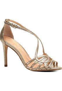 Sandália Shoestock Salto Fino Tiras Feminina - Feminino-Dourado