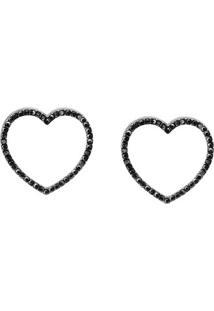 Brinco Coração Tudo Joias Folheado A Ródio - Feminino-Preto