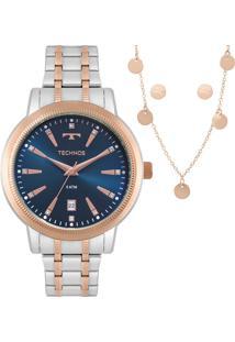 Kit Relógio Technos Feminino Trend Com Colar E Brincos 2115Mrt/5A