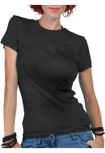 Camiseta Criativa Urbana Lisa Básica - Feminino-Preto