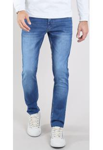 Calça Jeans Masculina Slim Com Bolsos Azul Médio