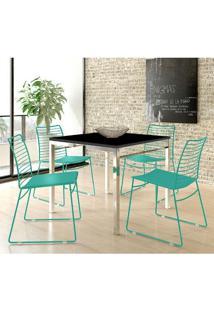 Mesa 1525 Cromada Preta Com 4 Cadeiras 1712 Color Uv Turquesa Carraro