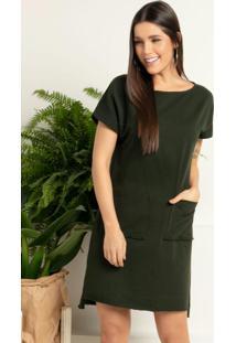 Vestido Verde Com Bolsos Frontais