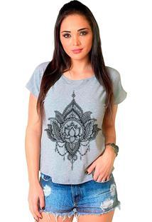 Camiseta Shop225 Flor De Lotus Mescla - Cinza - Feminino - Dafiti