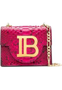 Balmain B-Bag 21 Snake-Effect Shoulder Bag - Rosa