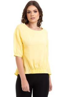 Blusa Viscose Lisa Com Elástico Feminina - Feminino-Amarelo