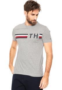Camiseta Tommy Hilfiger Striped Logo Cinza