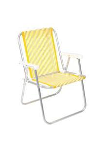 Cadeira De Praia E Piscina Alumínio E Polietileno - Amarelo Amarelo