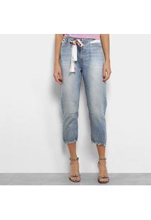 Calça Jeans Capri Coca-Cola Faixa Cintura Baixa Feminina - Feminino-Azul