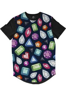 Camiseta Bsc Longline Diamantes Pretoidos Sublimada Preta Azul