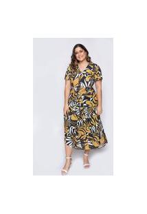 Vestido Almaria Plus Size Ela Linda Midi Estampado Amarelo