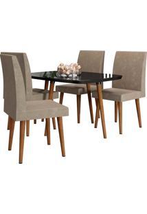 Conjunto De Mesa De Jantar Jade Preto 1,20X0,90 C/ 4 Cadeiras Rv Móveis