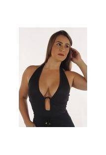 Body Canelado Linha Prime Fec Fashion Sustentação Metálica E Bojo Preto