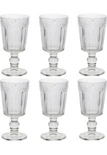 Conjunto De Taças De Vinho Lyor Flower 6 Peças 260Ml Transparente