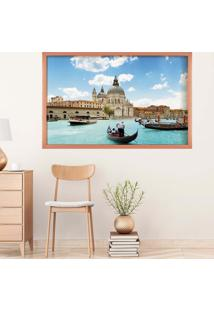 Quadro Love Decor Com Moldura Bella Veneza Rose Metalizado Grande