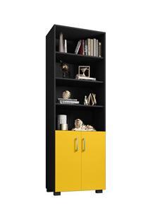 Estante Livreiro 2 Portas Pequenas 6 Prateleiras Office Preto/Amarelo