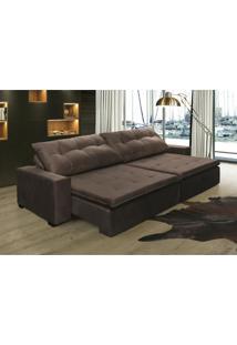 Sofá Retrátil, Reclinável Oklahoma 2,92M, Molas E Pillow No Assento Tecido Suede Café Cama Inbox