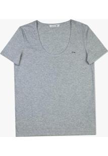 Camiseta Lacoste Jérsei Feminina - Feminino-Cinza