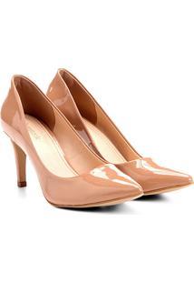 Scarpin Shoestock Salto Médio Bico Fino Verniz - Feminino-Nude