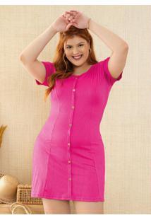 Vestido Evasê Pink Com Botões Decorativos