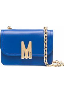 Moschino Bolsa Transversal Com Placa De Logo - Azul