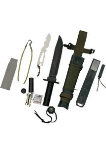 Faca Platoon Com Kit De Sobrevivência, Caça E Pesca - Nautika 321160-Verde Musgo