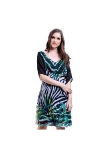 Vestido 101 Resort Wear Bicolor Estampado Zebra Folhas Preto Verde Branco