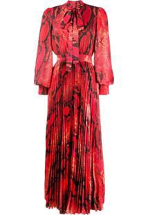 Msgm Vestido Longo Com Estampa Pele De Cobra - Vermelho