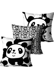 Kit Com 3 Capas Para Almofadas Mdecore Infantil Panda Preto E Branco 55X55Cm