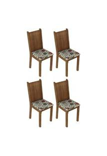 Kit 4 Cadeiras 4290 Madesa Rustic/Hibiscos Marrom