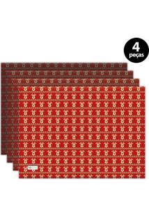 Jogo Americano Mdecore Natal Renas 40X28 Cm Vermelho 4Pçs