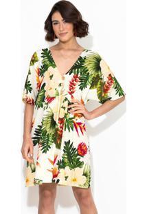 Vestido Curto Trópico Das Flores Bege