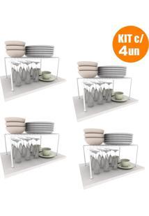 Kit Organizador Prateleira Armário Cozinha Aramado Luxo 4Un Dicarlo - Tricae