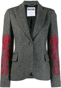 Moschino Embroidered Blazer - Cinza